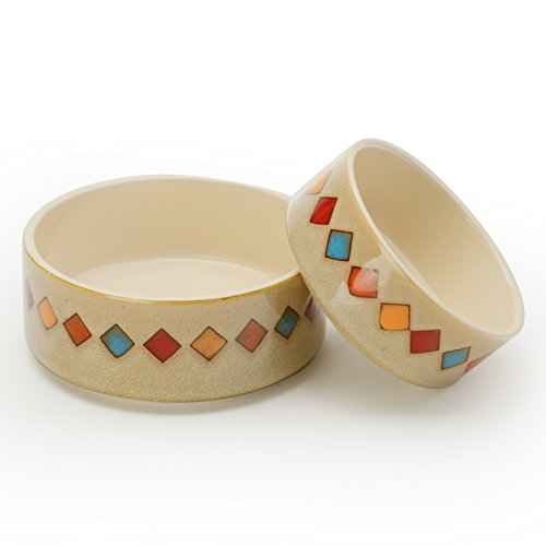 Signature Housewares Reactive Glaze Stoneware Pet Bowls (Diamonds, Extra ()