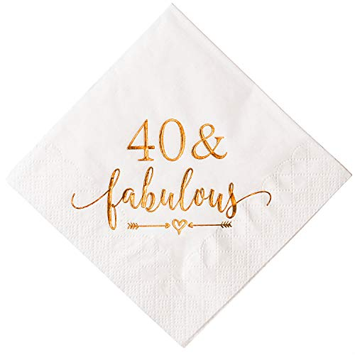 Crisky 40 and Fabulous Cocktail Napkins Rose Gold for Women 40th Birthday Decorations, 40th Birthday Bevergae Dessert Table Supplies, 50Pcs, -