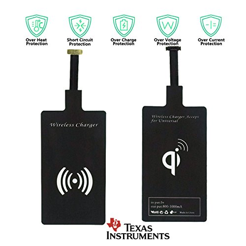 Wireless Charger Receiver Adapter - Qi Fast Charging Receptor Micro USB Type C Universal TI Chip Coil Patch for Apple iPhone 6s 6 Plus 7 Samsung Galaxy S9 S8 S7 (Receiver for USB B)