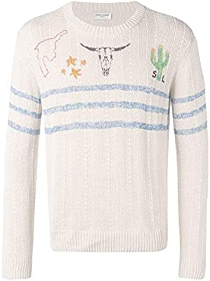2f5e8040b7130 Luxury Fashion | Saint Laurent Mens 558227YABD28486 White Jumper ...