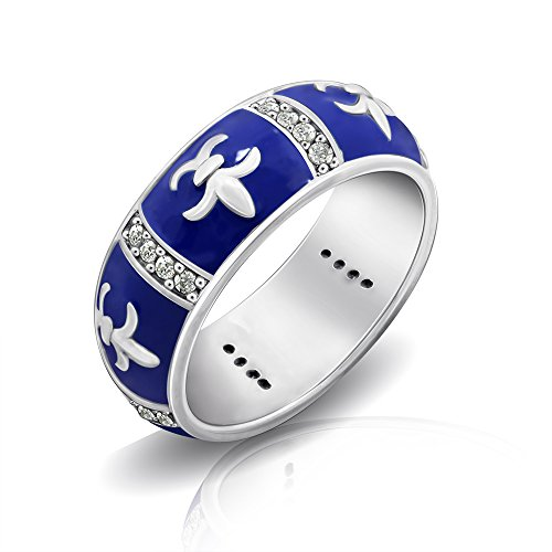 DIAMONBLISS Sterling Silver Cubic Zirconia Ring Enamel Fleur de Lis Eternity- Blue- Size 9