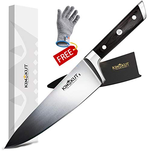 KingKut Chef Knife, 8-inch Kitchen Knife with Sheath, Forged of Top-Grade German Steel, Ergonomic Wood Handle, Perfect Balance, Include a Cut Resistant Glove (Best German Knife Brands)