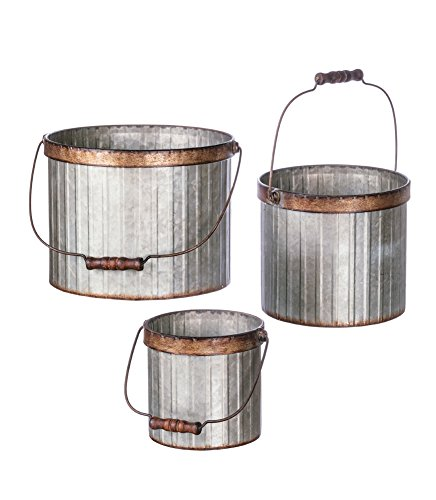 Set of 3 Assorted Sullivans Galvanized Corrugated Metal Bucket Pails from Sullivans
