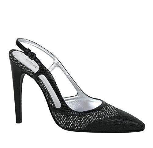 Bottega Veneta Leather Python Sling Back Heel Sandal Black 347047 8365 (IT 36 / US 6)