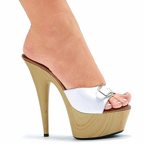 "Ellie 609-BARBARA Womens Sexy Comfortable 6"" Pointed Heel Mule W/Buckle White"
