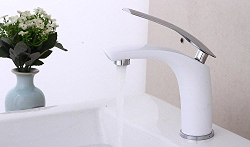 Lpophy Bathroom Sink Mixer Taps Faucet Bath Waterfall Cold and Hot Water Tap for Washroom Bathroom and Kitchen Copper Baking White Paint