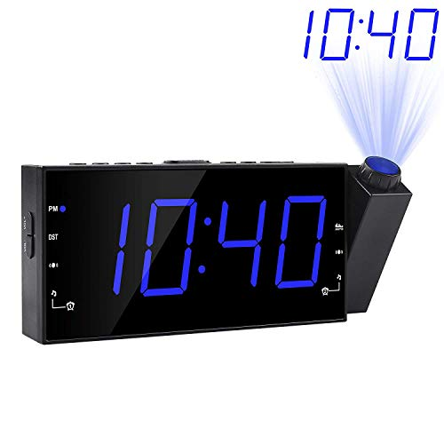 - Projection Alarm Clock, FM Radio Ceiling Wall Clock, 7