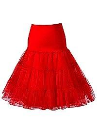 Beauty-Emily Women's 50s Vintage Skirt Petticoat Ruffles Mini Slips Tutu Underskirt, Red, Size L/XL