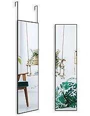 "Over The Door Mirror, Full Length Hanging Mirror, 47""x12"" Door Mirror, Full Size Body Long Tall Standing Mirror, Wall Mounted Mirror for Bedroom Living Locker Room, Aluminium Frame Black (47"" x 12"")"