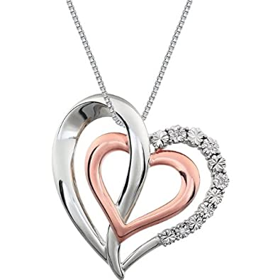 "7d0ac104bf548b Sterling Silver and Rose Gold Plate Diamond Two Heart Necklace, 18""  (.06"
