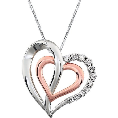 Sterling Silver and Rose Gold Plate Diamond Two Heart Necklace, 18'' (.06 Ct, G-I Color, I3 Clarity) by The Men's Jewelry Store