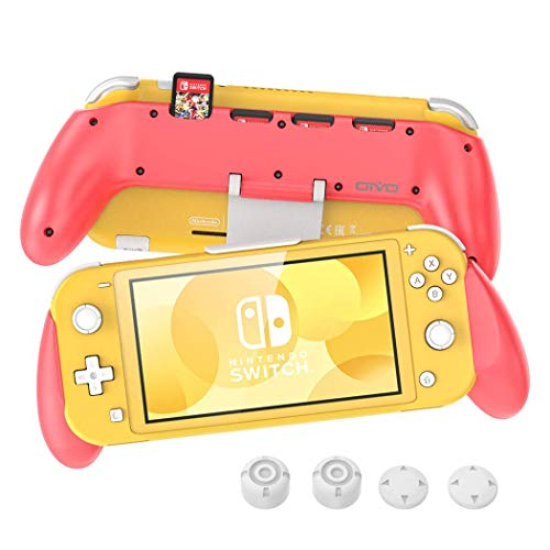 OIVO Grip for Nintendo Switch Lite, Pink Grip with Adjustable Stand and 5 Game Slots for Nintendo Switch Lite- 4 Thump Caps Included
