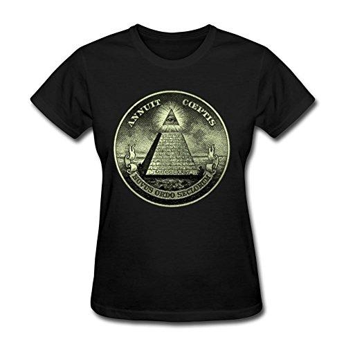 Women Illuminati Image Short-sleeve Black Customized Shirts With Large