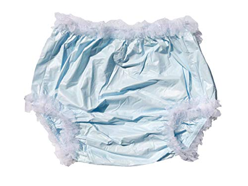 Haian Adult Incontinence Pull-on Plastic Pants Lace Panties with White Lace (Large, Baby Blue)
