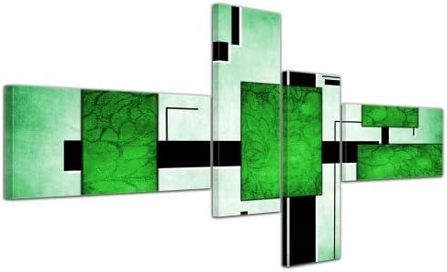 Cuadros en Lienzo - Arte abstracto Abstracto IV verde - 200x90cm 4 ...