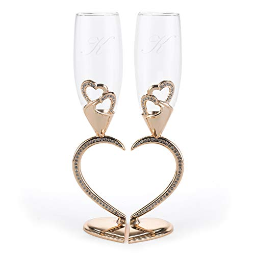 Rosegold Sparkling Hearts Linked Flutes Set of 2 Personalized Engraved Bride & Groom Toasting Glasses