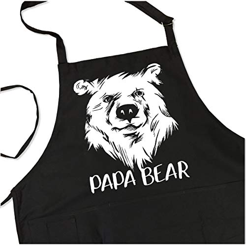 Papa Bear - BBQ Grill Apron - Funny Apron For Dad or Grandpa - 1 Size Fits All Chef Apron High Quality Poly/Cotton 4 Utility Pockets, Adjustable Neck and Extra Long Waist Ties