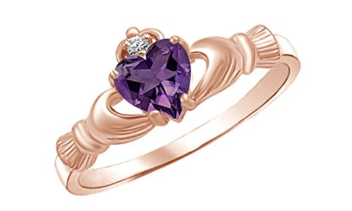 Heart Shaped Simulated Amethyst & Cubic Zirconia Claddagh Ring in 14k Rose Gold Over Sterling Silver Ring Size - 8