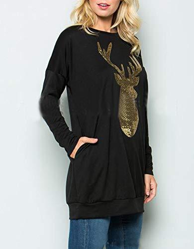 À T Mode Hauts Casual Printemps Brodé Manches Noir Longueur Et Légendaire Sweat Sweats Tuniques Longues Pulls De Femmes Paillettes T shirts Chemisiers Moyenne shirt Automne 1UvUwzWq6