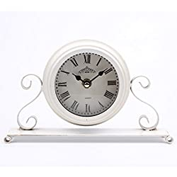 Dannto Vintage Metal Numerals Non-ticking Clock Battery Operated Craft Table Clock For Living Room Home Decor (One Size, White)