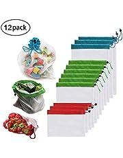 Bolsas ecológicas, GLURIZ 12Pcs Bolsas ecológicas para frutas y verduras, Bolsas reutilizables de malla lavable