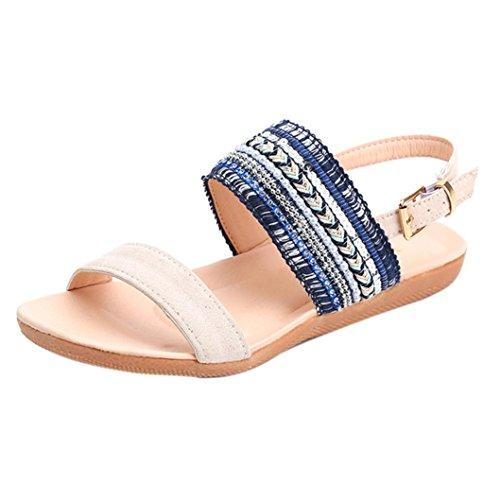 Start Women Summer Bohemia Flower Beaded Flip-Flop Sandals Shoes (8 B(M) US, 2018 Blue) by Start