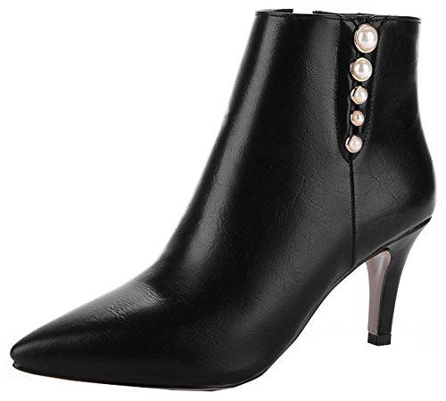 Ankle High Zip Heeled Women's Elegant Black Toe IDIFU Stiletto Martin Pointed Boots Mid Up Short PvUxYaq