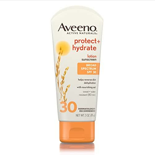 Aveeno Protect + Hydrate Sunscreen Lotion with Broad Spectrum Protection SPF 30, Active Naturals Oat, Sweat and Water Resistant Sun Protection, 3 oz