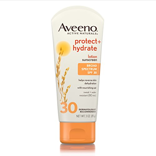 Aveeno Protect + Hydrate Sunscreen Lotion with Broad Spectrum Protection SPF 30, Active Naturals Oat, Sweat and Water Resistant Sun Protection, 3 oz (30 Lotion Spf Sunblock)