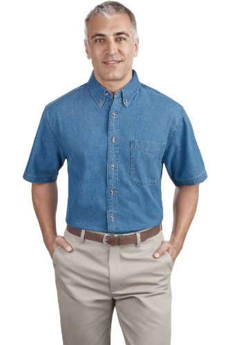 Port & Company Men's Short Sleeve Value Denim Shirt XL Faded Blue