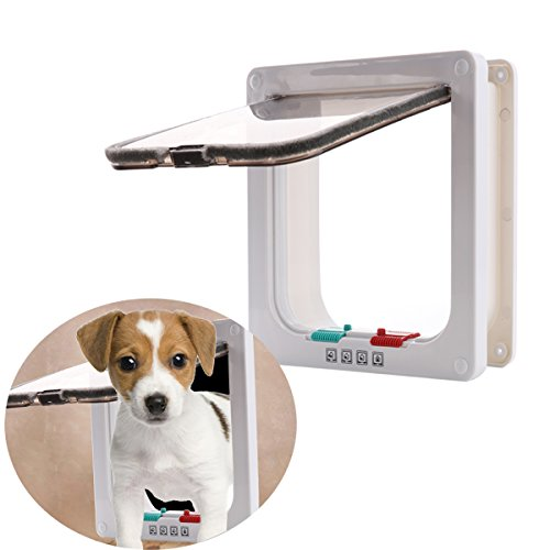 Cat Flaps Cat Doors Pet Supplies Locking Kitten White Door Kit for Small Animals for Sliding Door, Secures Your Pet with 4 Way Locking Cat Door White Large Size by CHICTRY (Image #3)