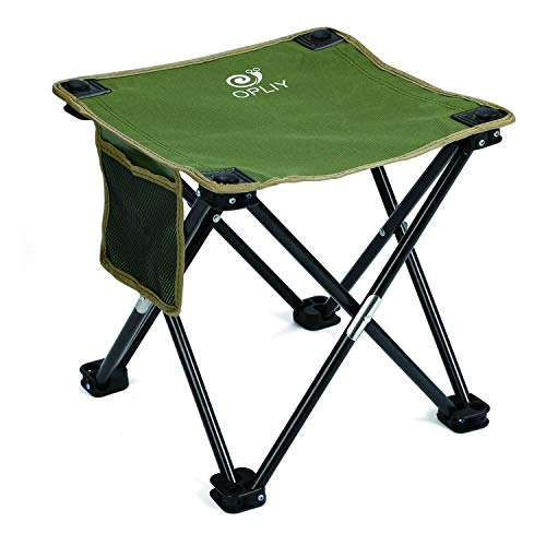 OPLIY Camping Stool, Folding Samll Chair Portable Camp Stool for Camping Fishing Hiking Gardening and Beach, Camping Seat with Carry Bag (Green, L 13.5