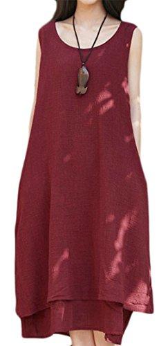 Estate Tang Fit Loose Donne Rosso Delle Vino Lino Maniche Grande Lungo Oscillazione Vestito 5t7wqf