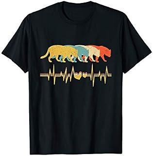 Jaguar , Retro Vintage Heartbeat Animal Lover T-shirt | Size S - 5XL
