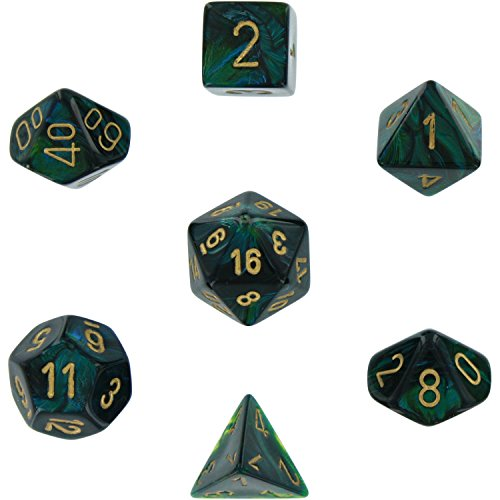 Chessex Dice Polyhedral 7-Die Scarab Set - Jade with Gold CHX-27415 ()