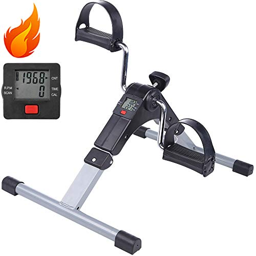 Pedal Exerciser, AGM Mini Arm Leg Exerciser Bike Fitness Cycling with LCD Monitor and Adjustable Resistance Home Fitness Resistance Cycle Training Workout