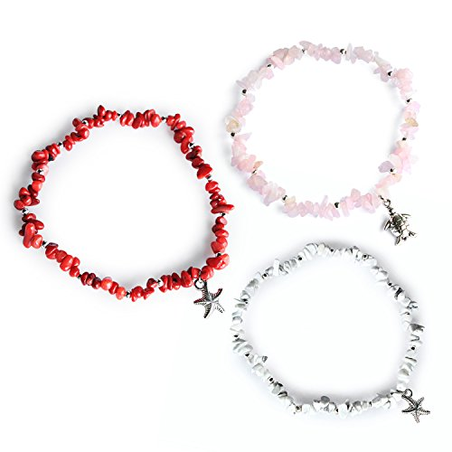 - Me&Hz Starfish Turtle Anklets Set Natural Stone Beaded Ankle Bracelets Summer White Stretch Beach Jewelry for Women Girls