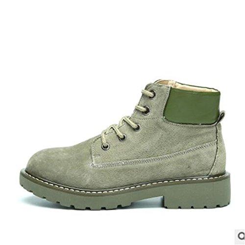 HSXZ Women's Shoes PU Winter Comfort Boots For Casual Green Brown Gray Black Green QvlxR