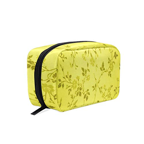 Makeup Bags Yellow Floral Print Cosmetic Bag Square Organizer Pouch Portable Pencil Storage Case for Women