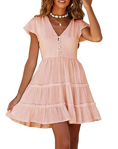 MEROKEETY Women's Summer V Neck Button Down Ruffle Sleeves Pleated Swing Mini Dress Light Pink