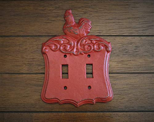 Farmhouse Double Light Switch Toggle Plate Colonial Red or Pick Color Country Cottage Chic Rooster Cover (Switchplate Rooster)