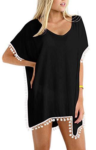 Women#039s Chiffon Pom Pom Kaftan Swimwear Bathing Suit Beach Black Size One Size