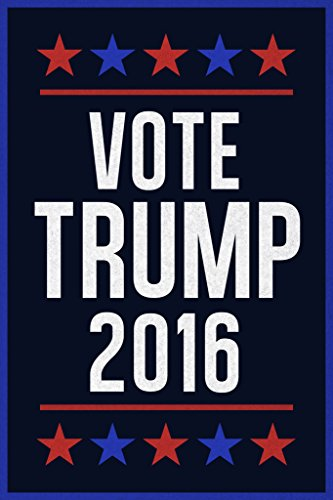 Vote Trump 2016 Republican Party Presidential Election Stars Navy With Blue Border Poster 12x18 (Party City 2016 Costumes)