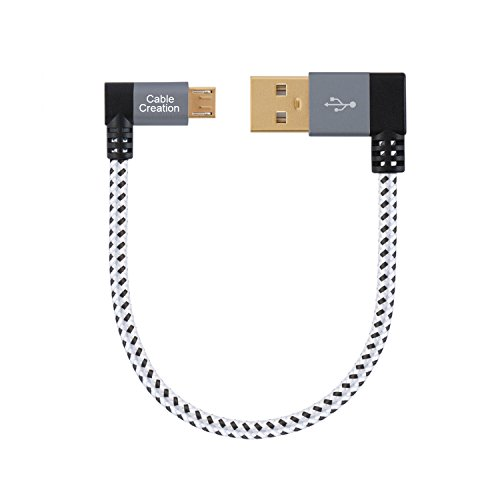 CableCreation Short (0.5ft) 90 Degree USB 2.0 A to Micro USB B Cable, Double Angle-Dual Angled Short Micro USB Cable with Aluminium Case,15cm, Space Gray