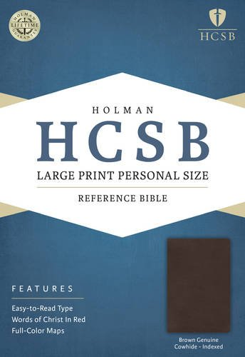 HCSB Large Print Personal Size Bible, Brown Genuine Cowhide Indexed