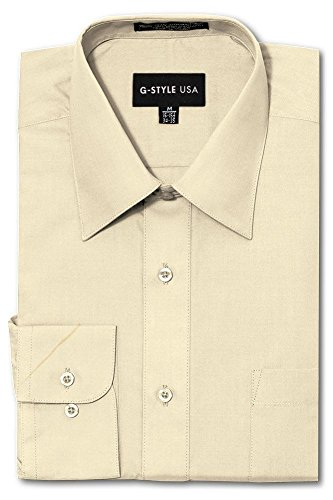 G-Style USA Men's Regular Fit Long Sleeve Solid Color Dress Shirts - Ivory - 3X-Large - - Mens Shirt Ivory