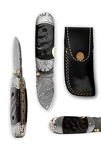 (Perkin - Handmade Damascus Pocket Knife - Beautiful Folding)