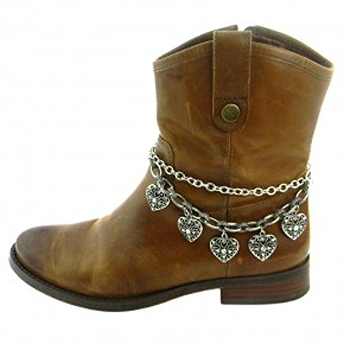 (Roger Enterprises Boot Chain Anklet Jewelry with Filigree Heart Charms Pendants Beautiful)