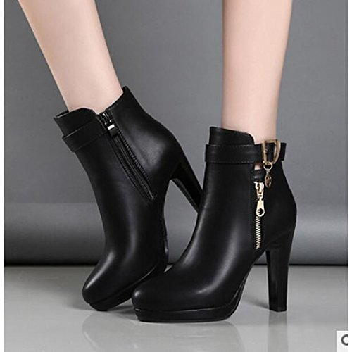 Stiletto Casual ZHZNVX Women's Booties Winter Shoes for Black Fall Heel HSXZ Comfort Boots Boots Black Ankle PU Toe Round R8qfR