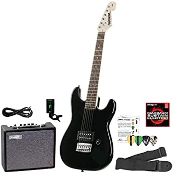 starcaster by fender strat electric guitar starter pack onyx black with lesson. Black Bedroom Furniture Sets. Home Design Ideas